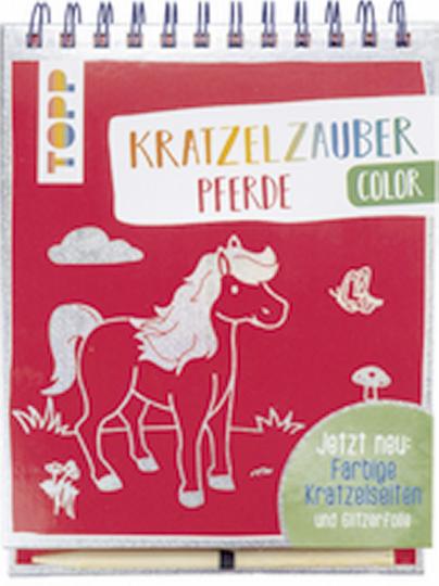 Kratzelzauber Color: Pferde - Farbige Kratzelseiten mit Glitzerfolie