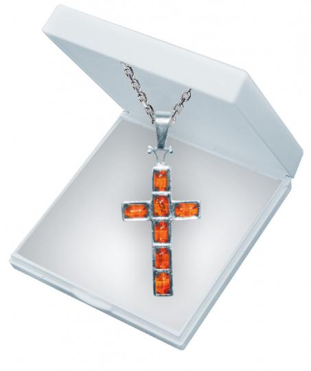 Kreuz-Anhänger - Silber mit Bernstein