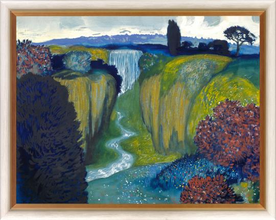 Landschaft mit Wasserfall. Franz von Stuck (1863-1928).
