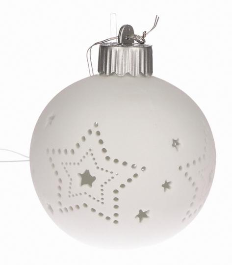 Leuchtende Christbaumkugel, große Sterne.