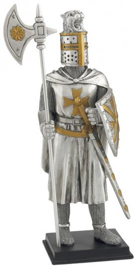 Malteser Templerritter mit Hellebarde, Schild und Schwert
