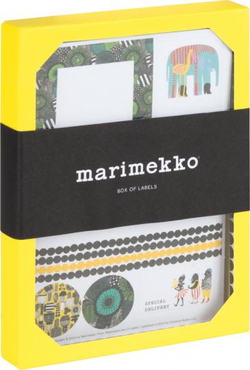 Marimekko Box mit Klebeetiketten.