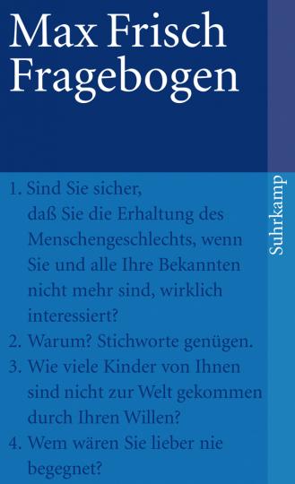Max Frisch. Fragebogen.