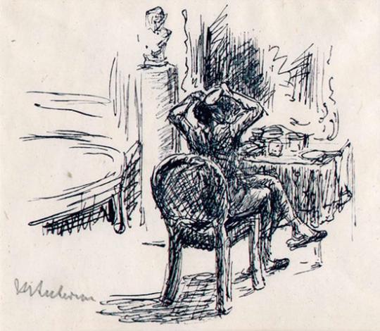 Max Liebermann. Der Major bei der Toilette vor dem Spiegel sitzend.