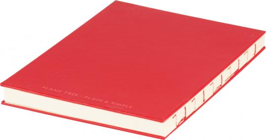 Mittelgroßes Skizzenbuch mit linierten Seiten, rot. Koptische Bindung.
