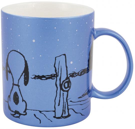 Peanuts Kaffeetasse. Snoopy und Charlie Brown. Metallic Blau.