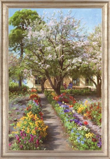 Peder Mönsted (1859 - 1941). Blühender Garten im Frühling, (1930).