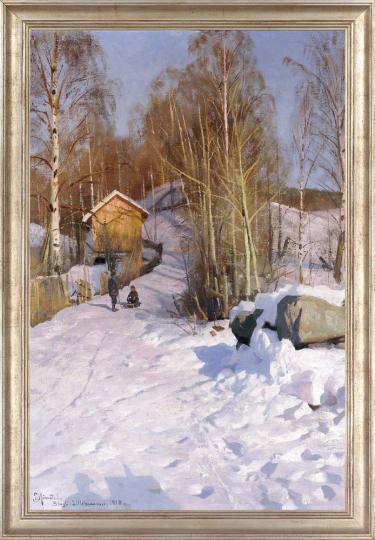 Peder Mönsted (1859 - 1941). Winterlandschaft mit Schlitten fahrenden Kindern, 1918.