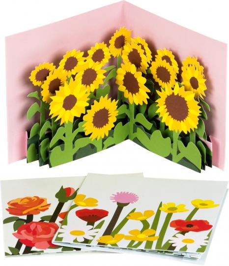 Pop-up-Grußkarten-Set »Die Blumenfelder«.