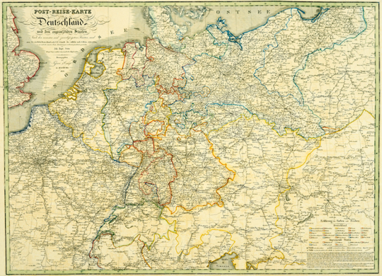 Postreisekarte von Deutschland und angrenzenden Länder 1828