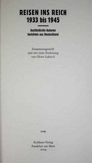 Reisen ins Reich 1933 bis 1945.
