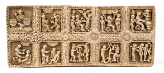 Reliefplatte Genesis. Romanisch, um ca. 1000