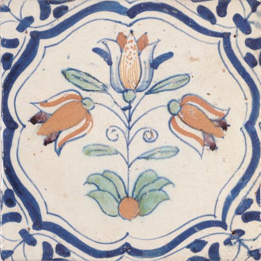 Replik Delfter Kachel »Drei Tulpen«, bunt.