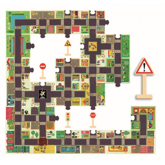 Riesenpuzzle »Die Stadt«, 100 x 63 cm.