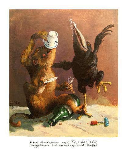 Rudi Hurzlmeier. »Huckebein und Fips.« Signierter Fine Art Print.