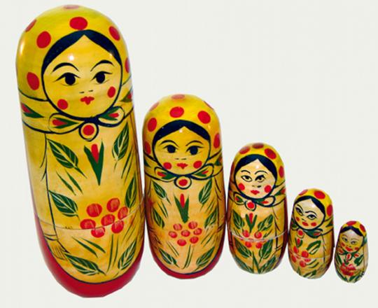 Russische Matrjoschka-Figuren 5 Stück