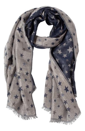 Schal mit Sternen, blau.