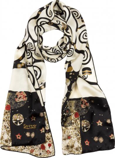 Seidenschal Gustav Klimt »Lebensbaum«, schwarz-weiß.