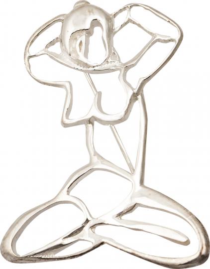 Silber Brosche Frauen Motiv »Karyatide«.