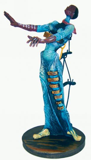 Skulptur »Frau mit Schubladen«.