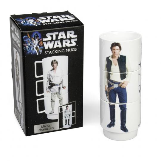 Star Wars Kaffeetassen Set 3-teilig, stapelbar. Luke Skywalker, Han Solo, Stormtrooper.