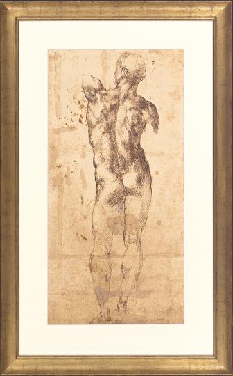 Stehender männlicher Rückenakt. Michelangelo Buonarotti (1475-1564).