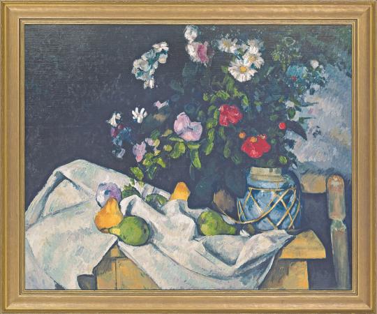 Stillleben mit Blumen und Früchten. Paul Cézanne (1839-1906).