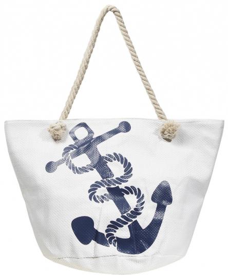 Strandtasche »Anker«, weiß/blau.