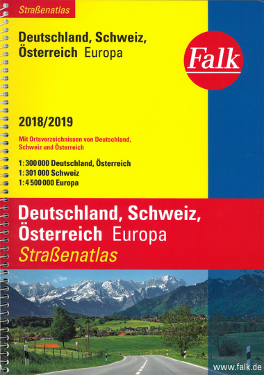 Straßenatlas Deutschland, Schweiz, Österreich, Europa 2018/2019