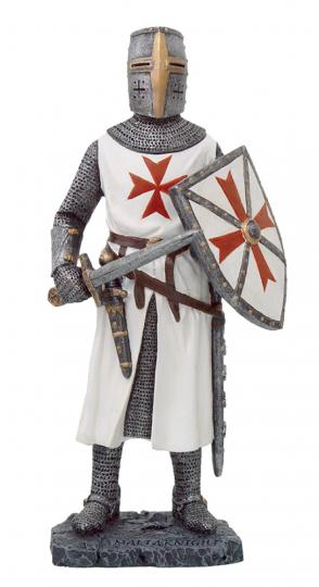 Tempelritter in weißer Rüstung mit Schwert und Schild