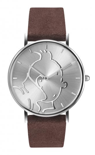 Tim und Struppi-Uhr mit Lederarmband.