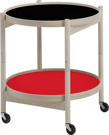Tray Table. Tablett-Tisch rot-schwarz.