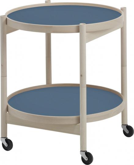 Tray Table. Tablett-Tisch taubenblau-weiß.