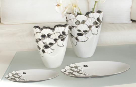 Vase Ginkgo, weiß/silber.
