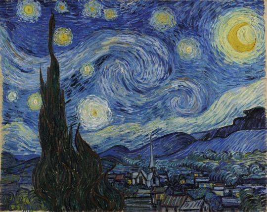 Vincent van Gogh. Die Sternennacht (Zypressen und Dorf), 1889.