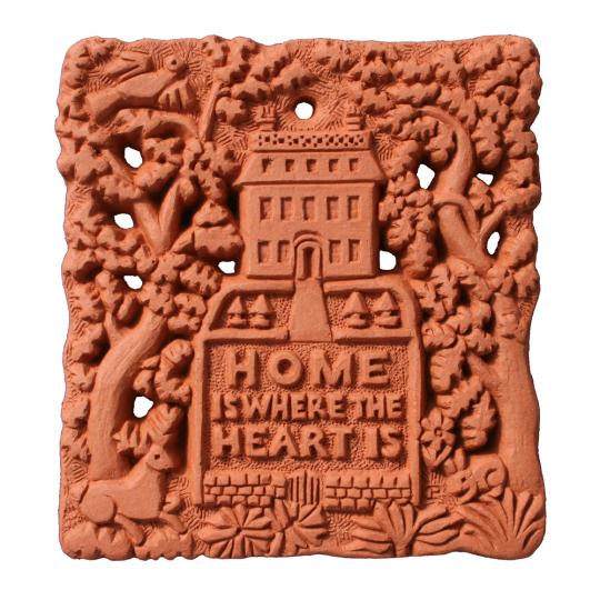 Wandfliese Terracotta »Home is where the heart is«.