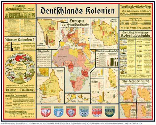 Wandkarte: Deutschlands Kolonien - Übersicht über die deutschen Schutzgebiete