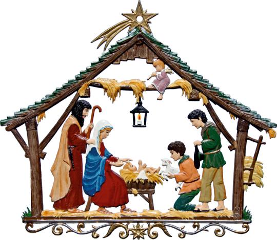 Weihnachtsfensterbild »Bauernkrippe«.