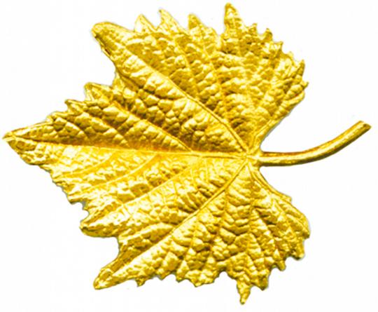 Weinblatt - Echt Silber, vergoldet.