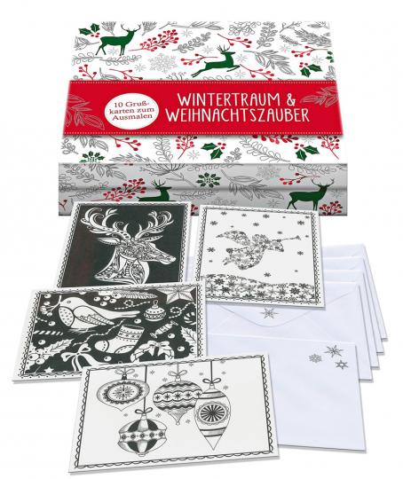 Wintertraum und Weihnachtszauber. 10 Grußkarten zum Ausmalen.