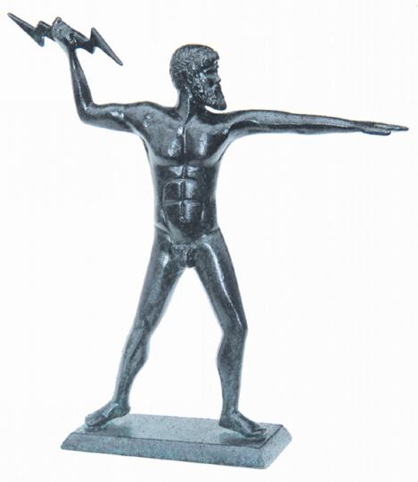 Statue Zeus mit Blitz.