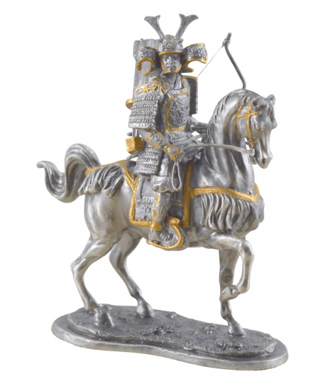Zinnfigur Samurai auf Pferd mit Bogen
