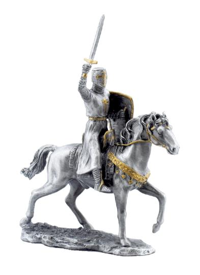 Zinnritter a. Pferd m. erhobenem Schwert