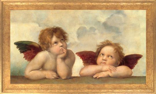 Zwei Engel - Detail aus »Die Sixtinische Madonna«. Raffael (1483-1520).
