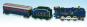 Blechspielzeug Dampflok mit Tender und Abteilwagen. Bild 1