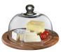 Runde Käseglocke aus Akazienholz mit Glasdeckel. Bild 1