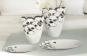 Vase Ginkgo, weiß/silber. Bild 1