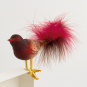 Glasvogel mit Federn. Gold/Rot. Bild 2