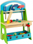 Werkbank mit Werkzeugen. Farbiges Holzspielzeug. Bild 2
