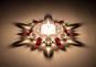 Teelichthalter mit Glasperlen, weiß/rot. Bild 4